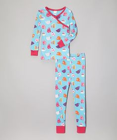 Blue Fancy Cups Organic Pajama Set - Toddler & Girls by P Love #zulily #zulilyfinds