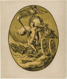 Night (Goddess of the Night), 1588/90 Hendrick Goltzius; a woodcut portraying the Greek goddess Nyx, along with an owl (symbol of night and death), bats (night) and a rooster (night's end). (Art Institute of Chicago)