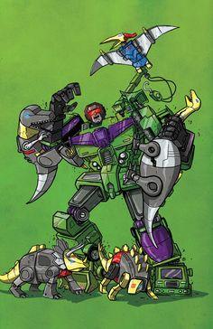 Devastator vs Dinobots, Darren Rawlings on ArtStation at https://www.artstation.com/artwork/2ZJ8v
