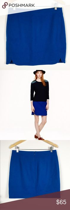 """J. Crew 6 Shirttail mini skirt in blue wool PRODUCT DETAILS Our new wool mini takes it up two notches. Literally.  Wool. Back zip. Lined. Measures approx 15.5""""w 20""""h 17.5""""long laying flat new with tags J. Crew Skirts Mini"""