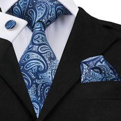MSA SIgnature New Brand Hi-Tie Paisley Tie Set Silk Jacquard Mens Necktie Gravata Hanky Cufflinks Set Mens Tie for Wedding Party Tie And Pocket Square, Pocket Squares, Paisley Tie, Paisley Color, Cufflink Set, Skinny Ties, Black Tie, Silk Ties, Ties