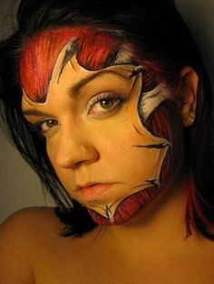 Horror face: Pittsburgh, PA, USA  Professional face-painter, and special effects make-up artist.  Face Painting and Airbrush Tattoos specializes in full face and body