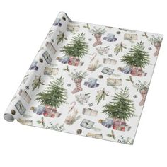 Watercolor Winter Christmas Holidays Wrapping Paper