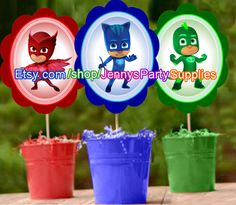 PJ Masks Centerpiece Instant DOWNLOAD, PJ Masks Party, P.J. Masks Centerpieces, Digital File, D.I.Y. Printable File, pjmasks by JennysPartySupplies on Etsy https://www.etsy.com/listing/253093078/pj-masks-centerpiece-instant-download-pj