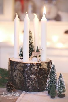 Kristín Vald - Advent candles wood, woodland, buttle brush trees, bambi