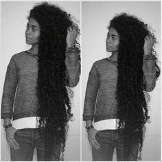 Just Imagine someone with beautiful kinky, coily type 4 hair at this length. Would anyone even have the patience for that? I think TK Wonder from Urbanbushbabes might actually be thigh length and she is type 4b/c. Longest natural hair.    alyssaredenti: extremely long natural hair. Super long hair. Long curly hair. Longest natural hair. Long Afro hair. Curly afro hair. Afro curls and waves. Naturally curly hair. Natural hair. Long natural hair. Classic length curls. Classic length hair…