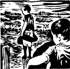 ✽   'the channel'  -   helen timbury -  linocut