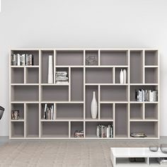 Italian tall large bookcase/library Swedish Ultramodern and minimalist design. Modest colours.