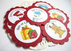 Christmas Holiday Gift Tags with Santa, Snowman, Reindeer, and Angel  @adorebynat - Seasonal on ArtFire