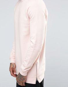 ASOS | ASOS Longline Sweatshirt With Side Zips In Pink