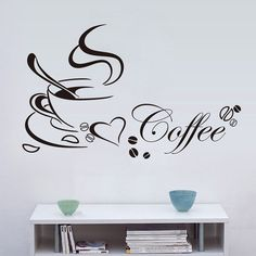 Coffee Cup With Heart Wall Stickers