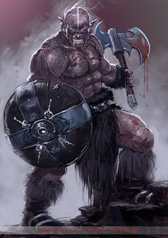 Art by FransMensink - Orc warrior with axe and shield