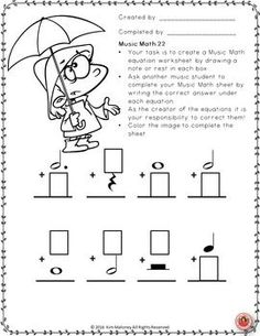 SPRING MUSIC MATH!!         24 music worksheets worksheets aimed at reinforcing students' understanding and knowledge of note and rest values.