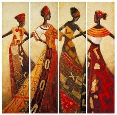 High grade art hand painted 4 Panels abstract portrait dancing African Women figure oil painting canvas wholesale and drop ship Women Figure, American Art, African, Native Art, Female Art, African Women Painting, Art, Abstract Portrait, Africa Art