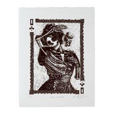 Calaveras Queen of Clubs Woodcut Print
