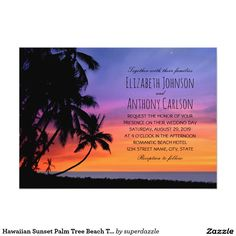 Hawaiian Sunset Palm Tree Beach Themed Wedding