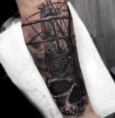 103 Best Badass Tattoo Designs in 2020 – Cool and Unique Designs - Skull With Sailing Ship Badass Forearm Tattoos For Men -