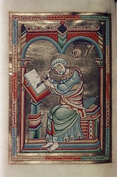 Illuminated Manuscript - St. Mark seated, writing; winged lion appears from above. MS. Canon. Bibl. Lat. 60,f. 48v, Austria, XII cent.