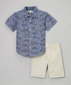 Look what I found on #zulily! Chambray Shark Button-Up & Shorts - Infant, Toddler & Boys #zulilyfinds