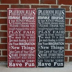 love this for the playroom-- Playroom Rules  Typography Word Art by barnowlprimitives on Etsy, $95.00