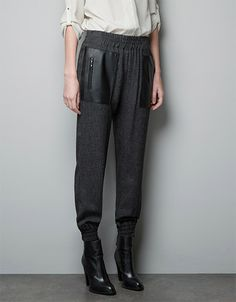 SheIn offers Grey Elastic Waist Zipper Embellished Contrast Leather Pockets Pant & more to fit your fashionable needs. Good Looking Women, Pull On Pants, Zara Women, Trousers Women, Clothing Items, Cropped Pants, New Fashion, French Fashion, Passion For Fashion