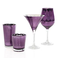 Purple Punch: Puccini Glassware Collection - Aubergine Set of 4 Purple Home, Purple Punch, Purple Kitchen, All Things Purple, Purple Stuff, Malva, Purple Reign, Stylish Home Decor, Purple Glass
