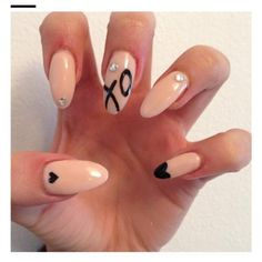 Pink and black valentines nail art