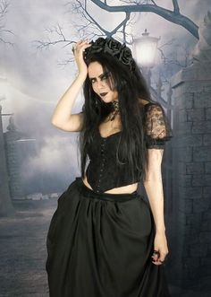 Baba Yaga Witch Bodice - steamed velvet and lace steampunk goth top by Moonmaiden Gothic Clothing UK