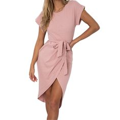 Summer Women Split Wrap Dress Mini Asymmetrical Casual Dress Cotton Short Sleeve O-neck Female Sexy Plus Size Sundress Gv771 Selling Well All Over The World Women's Clothing