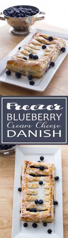 Blueberry Cream Cheese Danish – Use puff pastry and pie filling to make a great, easy breakfast treat! You can make these ahead of time and keep them in the freezer until needed! We are want to say thanks if you like to share this post. Brunch Recipes, Breakfast Recipes, Dessert Recipes, Meal Recipes, Fruit Recipes, Recipies, Freezer Cooking, Freezer Meals, Freezer Desserts