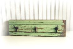 Rustic Three Hook Coat Rack Jadite Green by southrosewindow from southrosewindow on Etsy. Saved to My Green Home~.