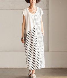 2-color Loose Fitting Maxi Dress Linen Sundress Cotton dress Wave point skirt Splicing skirt -Sleeveless for Women C202