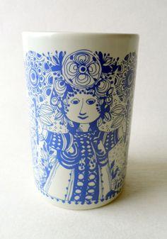 Vintage Danish Ceramic Bjorn Wiinblad Nymolle Denmark Blue White Vase Flora Art Flower Circa 1960s 1970s 3157-1315 #FollowVintage