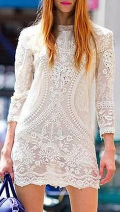 Trendy Solid Color See-Through Long Sleeve Crochet Lace Blouse For Women