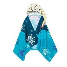 """Nighttime Princess!Go from bubbles to snuggles with this character hooded towel!FEATURES•A Elsa print hooded towel perfect for after baths or at the beach/pool• Two shades of blue towel with snowflake print• Hood is pale yellow to resemble Elsa's hair• Hood is printed to appear like Elsa's hair with an actual braid that can be worn to the side•23"""" x 51""""MATERIALS•100% Cotton terryCARE•Machine wash and dryMade in China5285036&nbs..."""