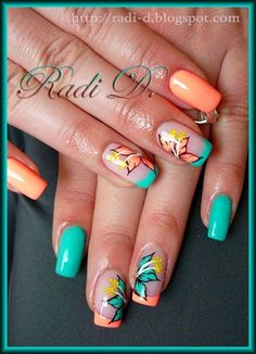 Looking for new nail art ideas for your short nails recently? These are awesome designs you can realistically accomplish–or at least ideas you can modify for your own nails! Fancy Nails, Cute Nails, Pretty Nails, Hair And Nails, My Nails, Tropical Nail Art, Tropical Nail Designs, Peach Nails, Nail Decorations
