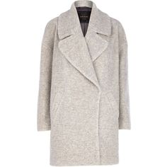 River Island Light grey boucle oversized coat ($72) ❤ liked on Polyvore featuring outerwear, coats, jackets, coats & jackets, tops, sale, boucle coat, river island, light grey coat and oversized coat