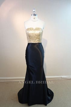 Gold Sequin fabric Black Stain  bridesmaid dress by AngelBridal, $110.00