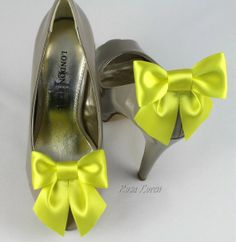 Shoe Clip Bright Yellow Satin Bow Shoe Clips by Bouquet By Rosa Loren. Find them at: https://www.etsy.com/shop/BouquetByRosaLoren?section_id=12693072