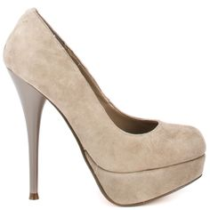 Show off your legs in these fabulous pumps from Luichiny! Leg Acy brings you a lovely suede taupe upper in a closed toe style. A 1 1/2 inch platform and a sky high 5 inch blue stiletto heel perfect these work or play pumps.