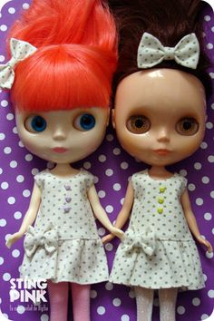 Dress for Blythe White with green polka dots by StingPink on Etsy, $15.00