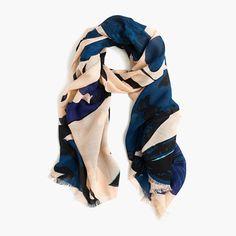 """A pretty scarf in a colorful floral pattern is a closet essential. <ul><li>80""""L x 30""""W.</li><li>Wool/viscose.</li><li>Dry clean.</li><li>Import.</li></ul>"""