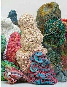 Fabric coral / sea life woven fiber. textile art