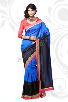 Black Blue Manipuri Saree  Design No. DMV7554 Price:- £45.00 Dress Type:	Saree Fabric:	Manipuri Colour:    ​         	Black with Blue Embellishments: 	Embroidered, Plain Pallu For More Details:- http://www.andaazfashion.co.uk/black-blue-manipuri-saree-with-orange-jacquard-blouse-dmv7554.html