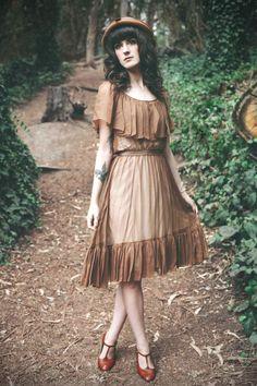 brown chiffon cape vintage dress, hat and t-strap shoes