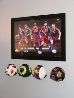 Great for the World Cup soccer balls. Cool soccer ball holders from the Container Store called Ball Claws. Boys Soccer Bedroom, Soccer Room Decor, Soccer Boys, Boy Room, Kids Bedroom, Bedroom Decor, Bedroom Ideas, Wall Decor, Football Rooms