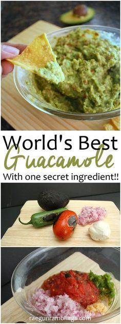 Hands down the best guacamole I've ever had. Everyone asks for the recipe whenev. Hands down the best guacamole I've ever had. Everyone asks for the recipe whenever I bring it to parties or game nig Best Guacamole Recipe, Avocado Recipes, How To Make Guacamole, Potato Recipes, Vegetable Recipes, Mexican Guacamole Recipe, Guacamole Sauce, Authentic Guacamole Recipe, Mexican Slaw