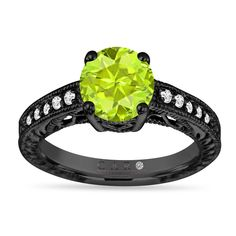 Jewelryhub 1.00ct Heart Shape CZ Dark Green Peridot 14k Black Gold Plated Sterling Silver Split Shank Wedding Engagement Promise Rings for Her