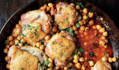 Pan-Roasted Chicken Thighs with Chickpeas and Harissa | 21 Fall Recipes For All Your Favorite Chicken Parts