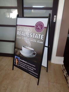 A-Frame complete with 2 inserts River Realty, Small Business Solutions, Trade Show, Frame, Picture Frame, A Frame, Frames, Picture Frames
